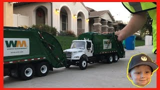 Roman's Waste Management Toy Garbage Truck Play Day   Video For Children