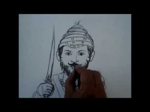 how to draw face of shivaji maharaj   youtube