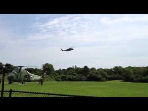 "CH-53E ""Super Stallion"" landing at Village School Marblehead"