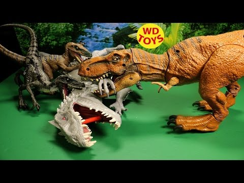 NEW JURASSIC WORLD STOMP AND STRIKE TYRANNOSAURUS REX 2015 REVIEW VS INDOMINUS REX
