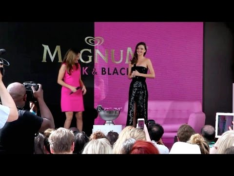 Miranda Kerr at Magnum Beach Press conference in Cannes