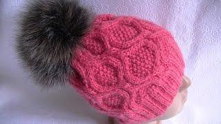 Вязание шапки узором с ромбами на круговых спицах.