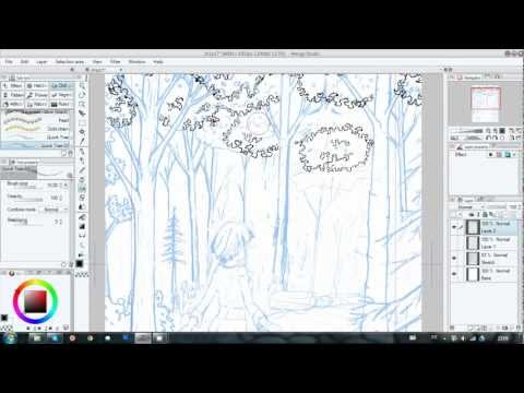Trick #2 Usefull for tree and bushes. Manga Studio 5.  with custom Brush Pattern