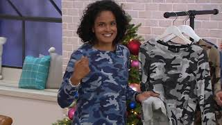 Attitudes by Renee French Terry Long-Sleeve Camo Top on QVC