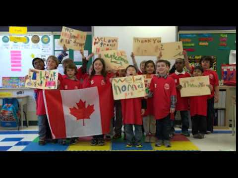 Grade 1 students from Holy Cross Catholic School in Ottawa say thank you