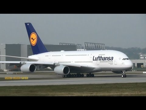Two planes on the runway / takeoff of Lufthansa A380 D-AIMK for delivery flight