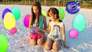 GIANT SURPRISE EGG HUNT Genie Girls Surprise Toy Opening - Wish Granter on a Magical Beach
