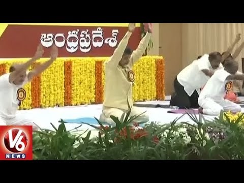 AP CM Chandrababu Leads 4th International Yoga Day In Amaravati | V6 News