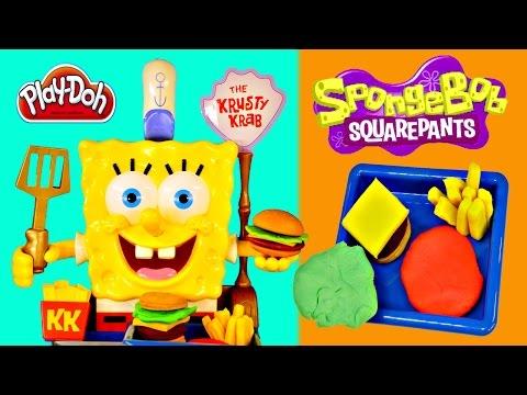 Spongebob Squarepants Talking Krabby Patty Maker Play Doh Krusty Krab Burger Playdough Toys