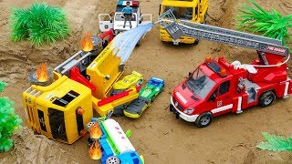 Crane Truck, Fire Truck and Police Car Rescue Tank Truck and Transporter Truck | Cars and Toys