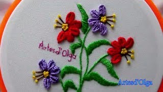 Hand Embroidery:Buttonhole Bar Stitch-Detached Buttonhole | Bordados a mano: Flores en Barra de Ojal