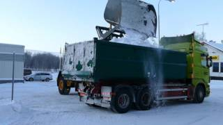 Volvo L70F loading snow with a High-Dump bucket