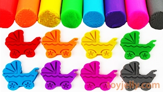 Learn Colors Play Doh Modeling Clay Baby Stroller Cookie Cutter Finger Family Song Nursery Rhymes