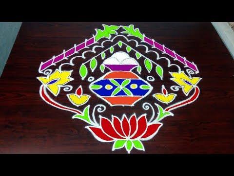 Sankranthi Bhogi Kundala Muggulu With 17 x 3 x 3 Straight Dots     Pongal kolam    Fashion World #1