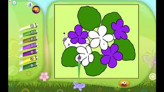 PLAYING COLOUR COLOR BY NUMBERS FLOWERS 3 | KIDS GAME