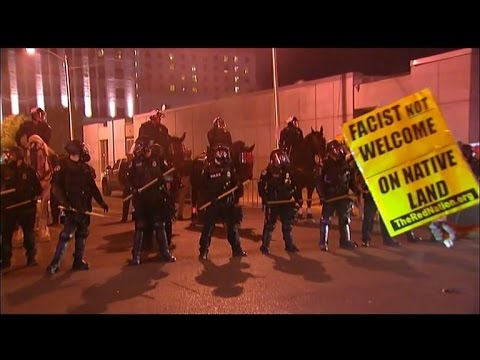 Trump Protesters Battle With Police In Full Riot Gear Outside Rally