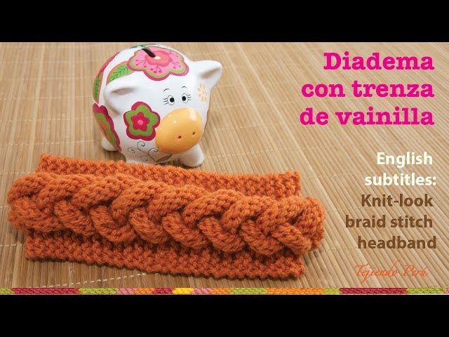 Mini tutorial # 7: vincha o diadema con trenza en relieve en 2 agujas / English subtitles