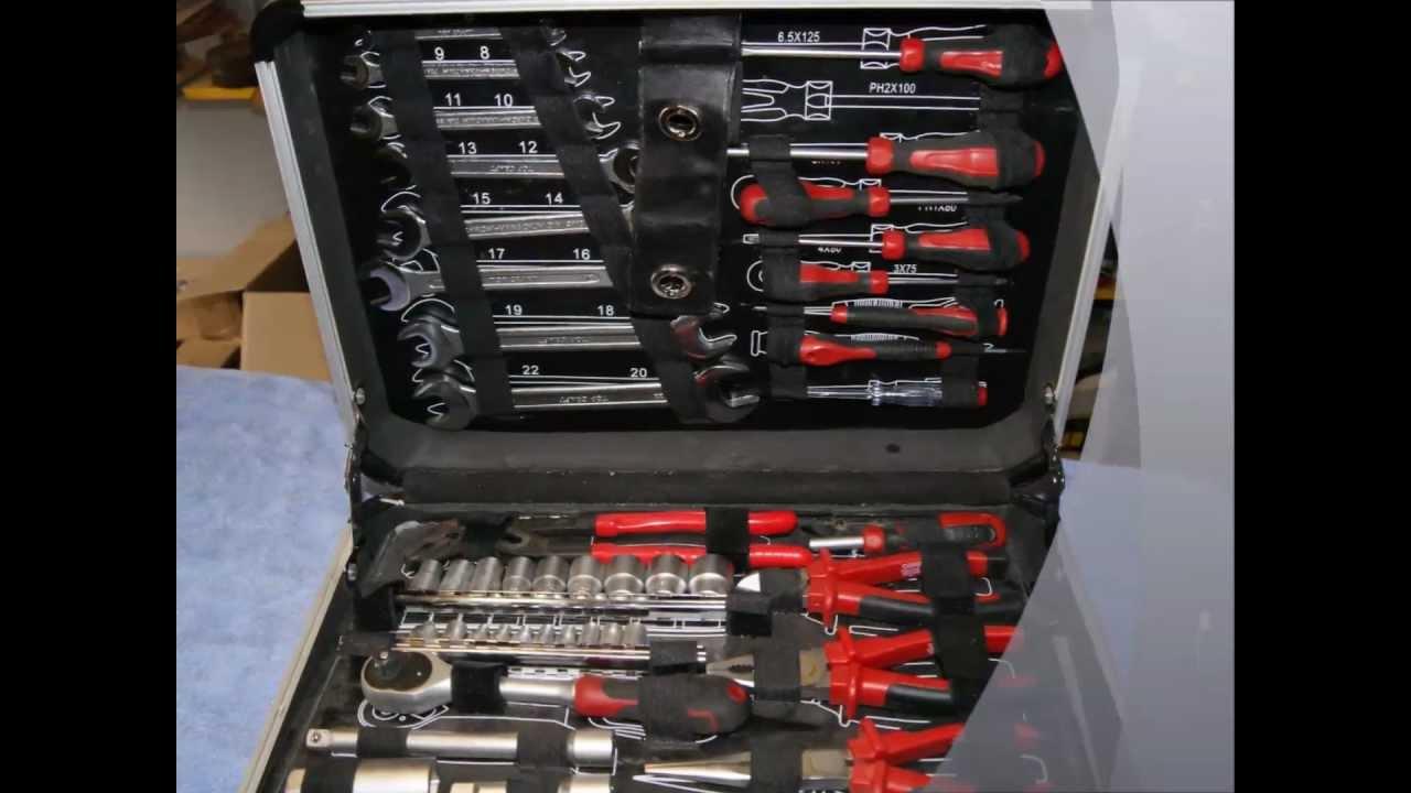 aldi werkzeugkoffer werkzeug spezialwerkzeug werbung 90 kraft tool tools case box youtube. Black Bedroom Furniture Sets. Home Design Ideas