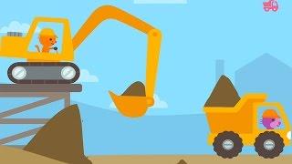 การ์ตูนขับรถแม็คโคร รถขุดดิน รถดั้ม รถตักดิน Excavator and dump truck