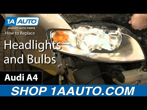 How To Install Replace Change Headlights and Bulbs 2005-08 Audi A4