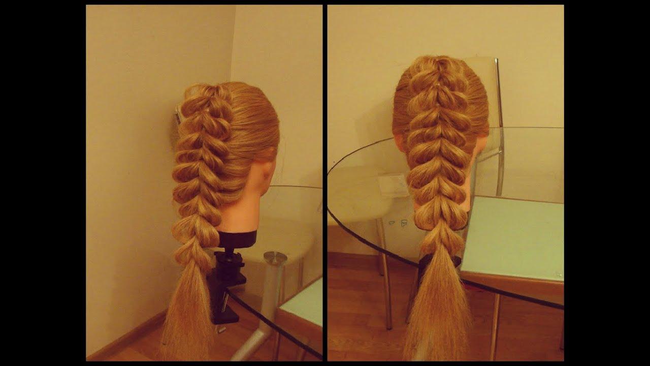 Прическа коса на резинке плетение