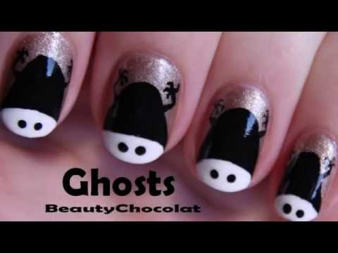 Creepy Shadow of a 'Baby' Ghost Nail Art Design - Halloween Collab