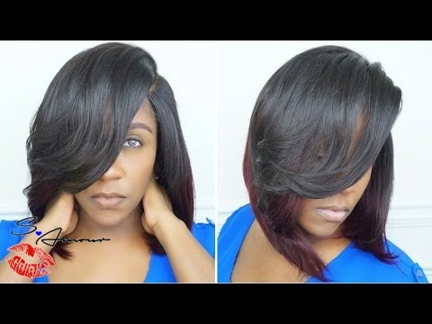 DEEP SIDE PART BOB INSTALL   CUT & STYLE   NO HAIR OUT   ZURY LUREX HAIR