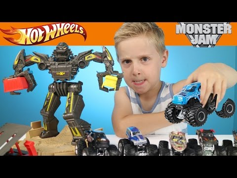 Hot Wheels Cars - Monster Jam Monster Trucks Maximum Destruction Race Playset Toys Review by KIDCITY
