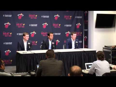 Miami Heat Head Coach Erik Spoelstra introduces brothers Goran and Zoran Dragic