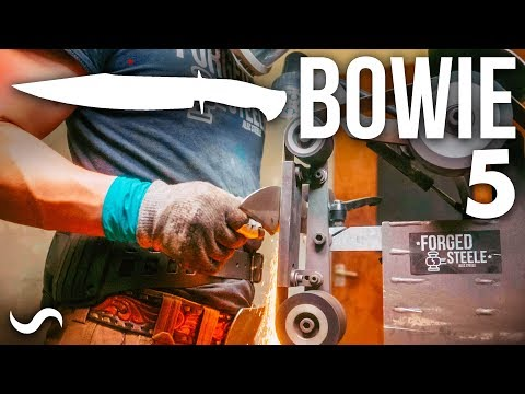 MAKING A BOWIE KNIFE WITH TWIST DAMASCUS!!! Part 5