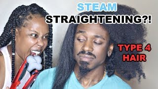 USING STEAM TO STRAIGHTEN MY BOYFRIEND'S TYPE 4 HAIR | STEAM FLAT IRON FIRST IMPRESSIONS