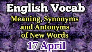 Synonyms || Antonyms || New Words