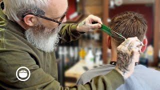 Master Barber Gives a Low Fade with Textured Top Haircut