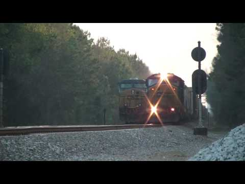 (HD) CSX SD60I #8754 leads CSXT Q492-29 through N. Ludowici