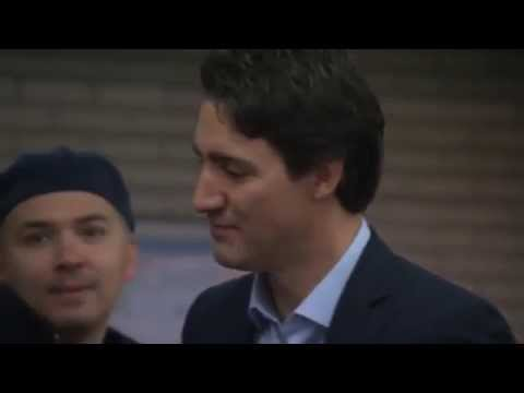 Justin Trudeau greets people at Montreal subway the morning after election