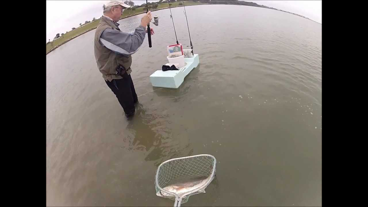 1 20 13 wade fishing slam redfish sea trout flounder for Wade fishing caddy