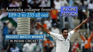 Kumble destroys Australia - from 189/2 to 235 all out inside a session.