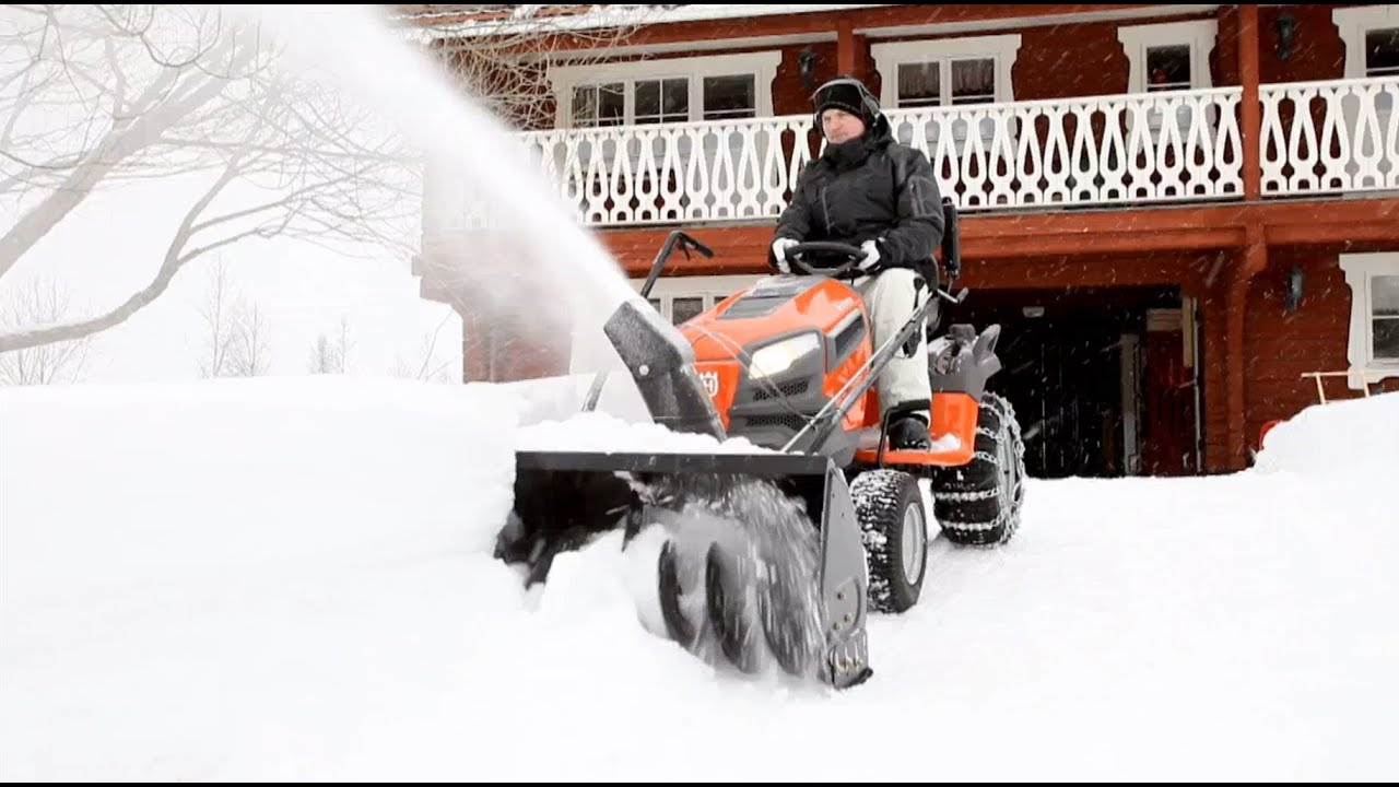 Husqvarna tractors - how to attach snow thrower - YouTube
