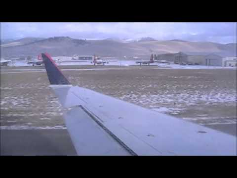 Startup and Takeoff of Delta Connection Flight 4465 (Operated by SkyWest Airlines) with service to KSLC (Salt Lake City, UT) from KMSO (Missoula, MT). Equipment: Canadair CRJ-200ER Regional...
