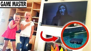 Game Master Hacks Our TV and Drops Mystery Box in Our Pool!!!