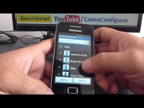 como pasar contactos ala sim card samsung galaxy ace S5830 español Full HD