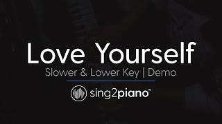 Love Yourself Slower Female Key Piano Karaoke Demo Justin Bieber