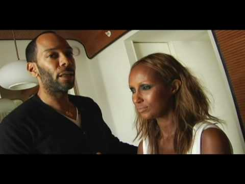 Sam Fine and Iman Behind the Scenes at Hello Magazine Shoot
