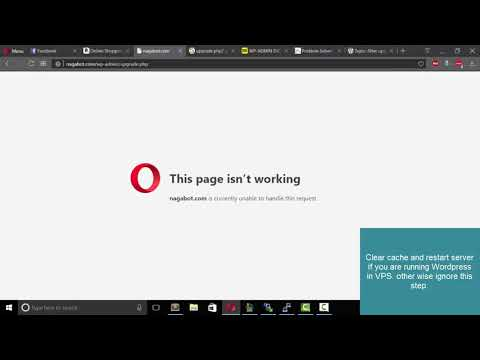 WordPress Upgrade Error This page isn't working