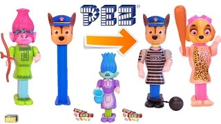 Paw Patrol Trolls PEZ CANDY DISPENSERS Wrong Heads, Body Parts - Learning Colors Kids Video