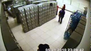 Chick Knocks Lockers Over Like Dominoes