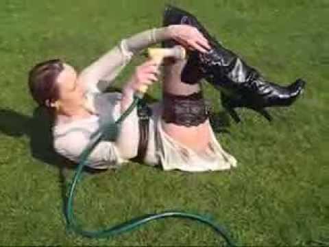 Wetmar  wet seethrough dress and thigh boots