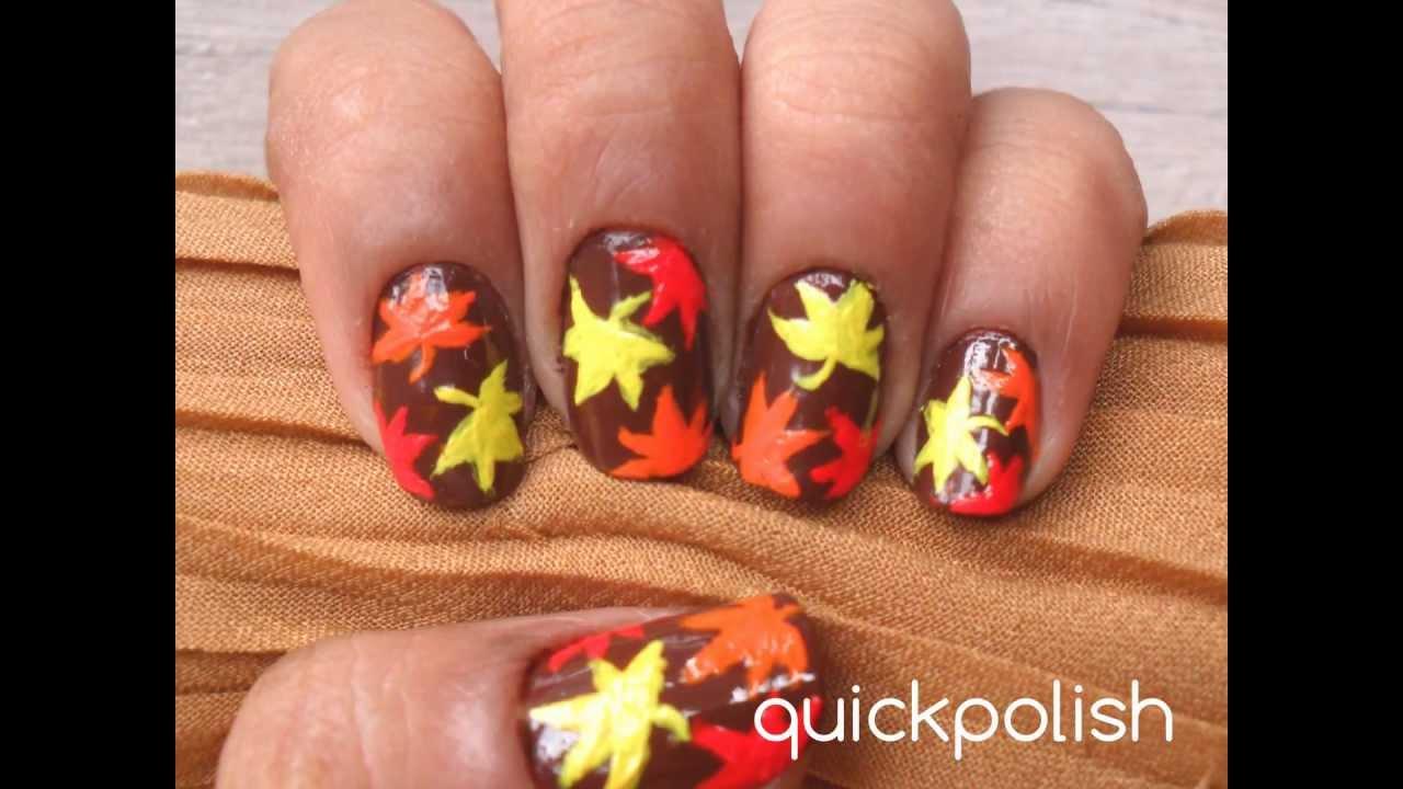 Easy Nail Art Leaf ~ Cute easy fall autumn nail art designs ideas