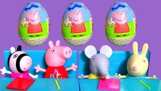 Clay Buddies Peppa Pig Surprise Eggs 3-pack - Learn Shapes with Peppa's School Bus Pop-up