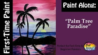 Easiest Painting for First-time Painter: Palm Tree Paradise: Step by step acrylic painting!🌴🎨🌴